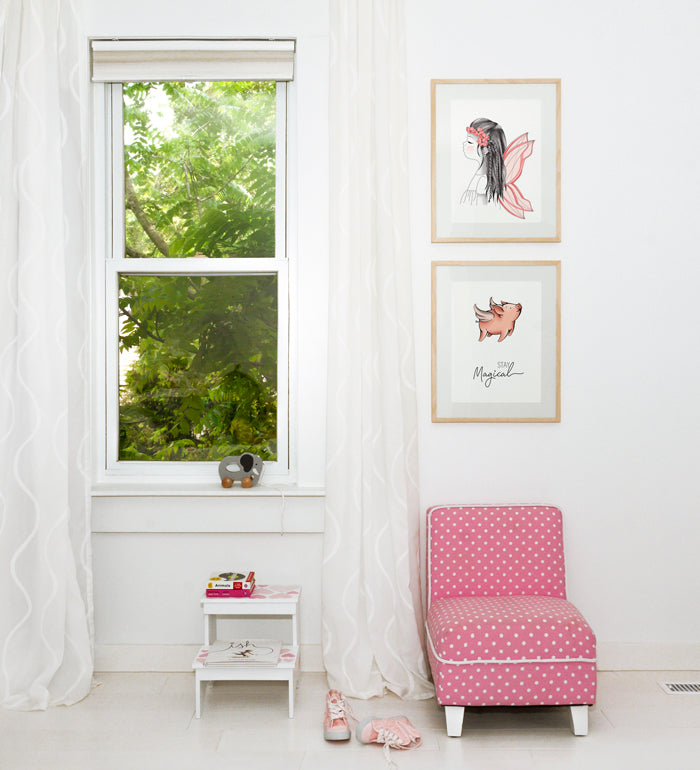 Art Gallery for little girl's bedroom with little fairy and flying pig