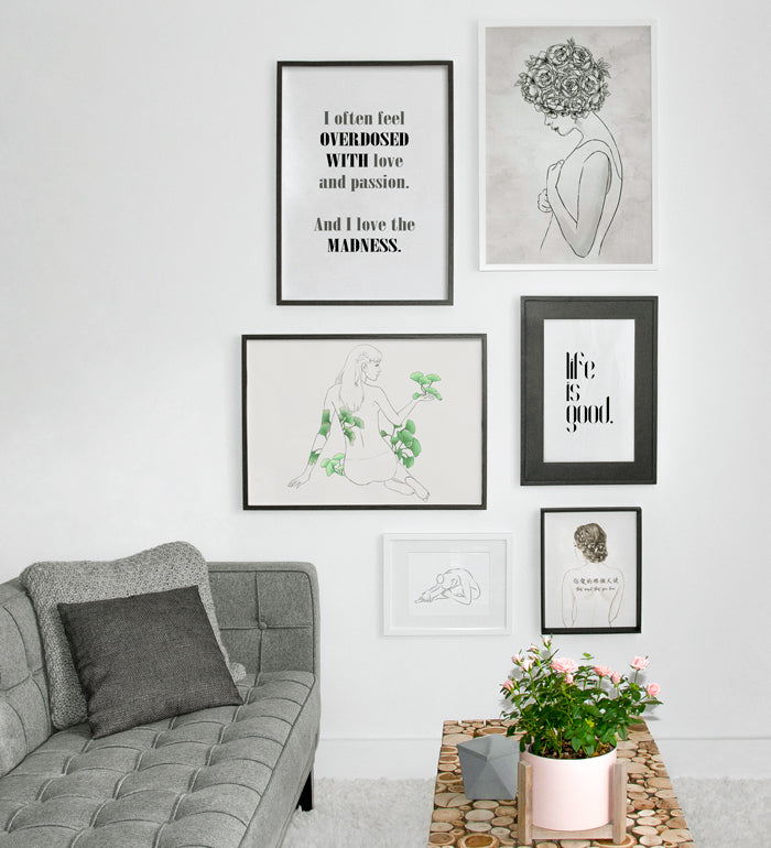 Art Gallery for living room with typography and women portrait posters