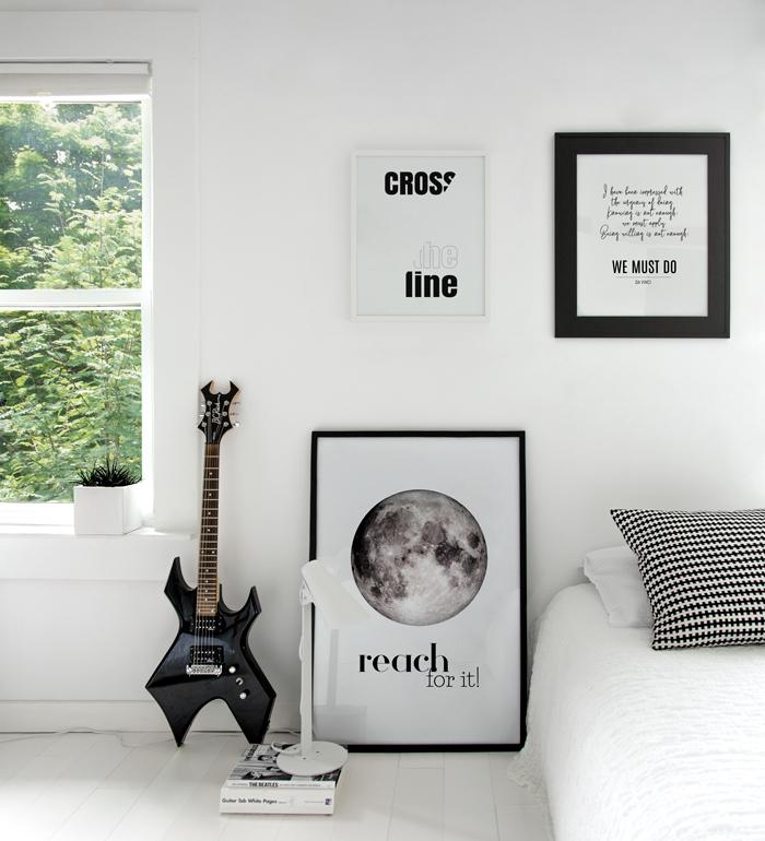 Minimalist Typography art gallery for teens bedroom in black and white