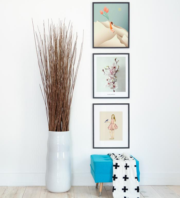 Art Gallery with pastel color posters of photography and illustrations