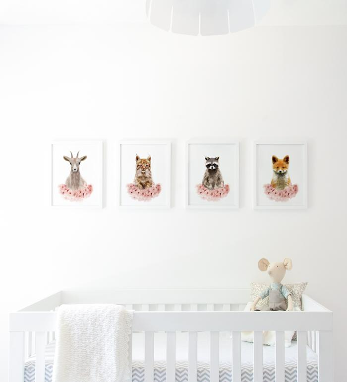 Art gallery with animal prints for baby room