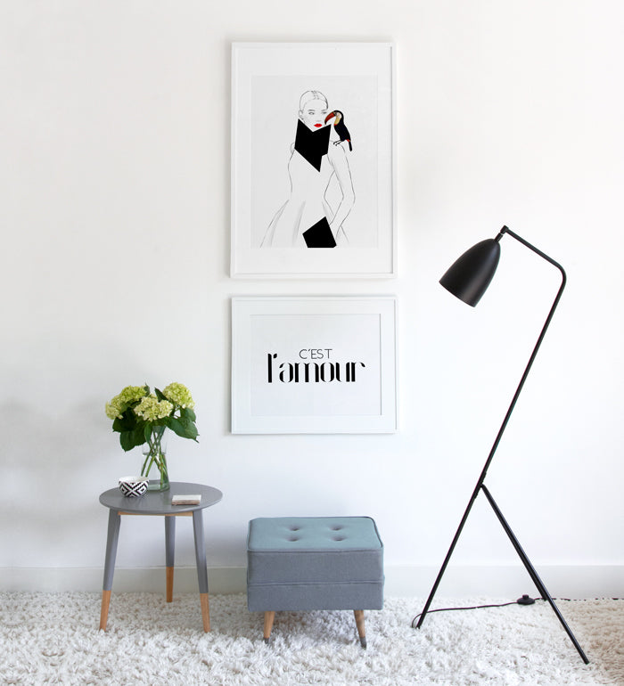 Monochromatic Elegant wall gallery with female portrait and typography posters