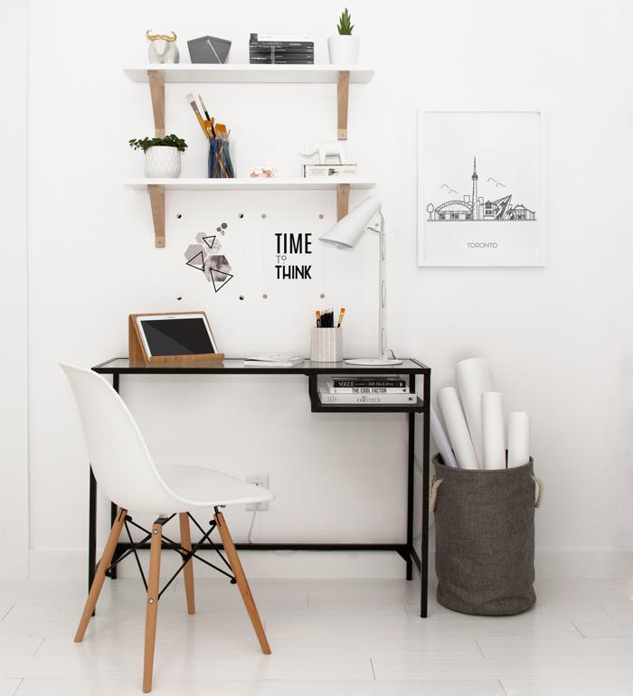 Scandinavian style office with minimalist poster designs