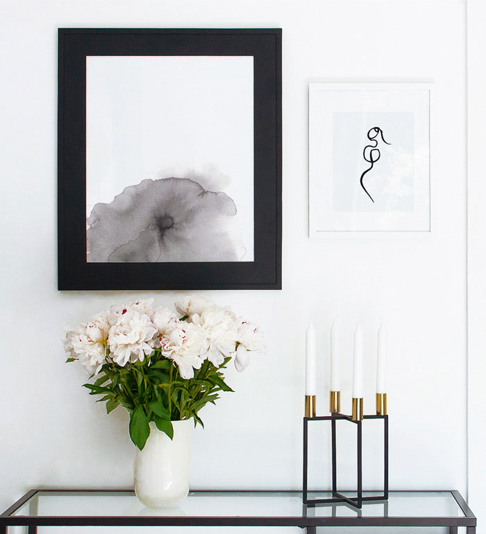 Art prints above console table