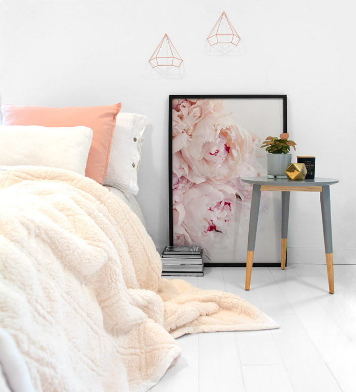 Peonies Photo Poster Decor for Minimalist Bedroom with pastel tones, Posterwol