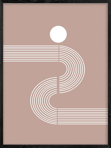 Mid-century-Minimalist-Figure-2-Poster-with-Pink-Background-Posterwol