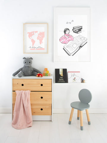 Oh-the-Adventures-pink-map-kids-minimalist-nordic-print Posterwol