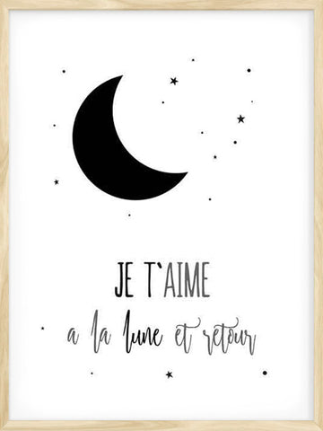 """je t'aime a la lune"" kids poster with FRENCH TEXT and Scandinavian design"