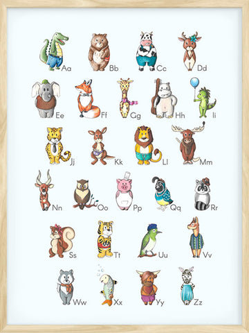Alphabet-Animals-Blue-background-cute-poster-for-kids-and-babies