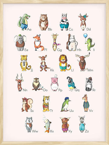 Alphabet-Animals-educational-poster-with-pink-background