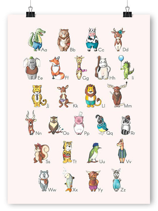 Alphabet Animals - Rose - Poster