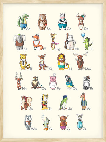 Alphabet-educational-poster-cream-with-animal-illustrations-for-kid's-room-decor