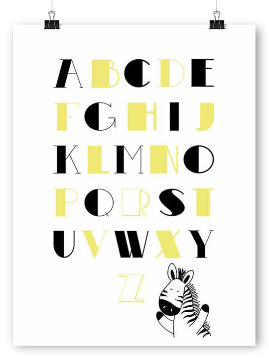 Alphabet in Black & Yellow - Poster