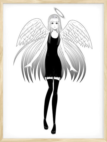 Angel girl manga style illustration poster for teen's room decor