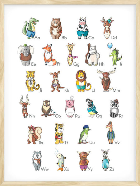 Alphabet Animals - White - Poster