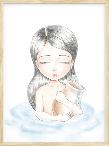 Aquarius-Zodiac-Little-Girl-illustration-Scandinavian-art-wall-decor