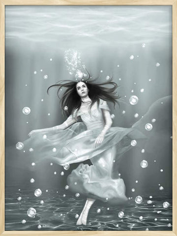 Surreal portrait for girl underwater with beautiful soft colors
