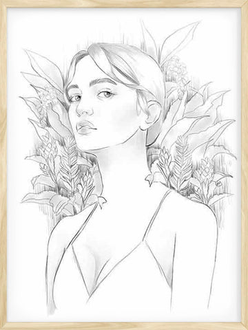 Botanical-Girl-poster-in-black-and-white