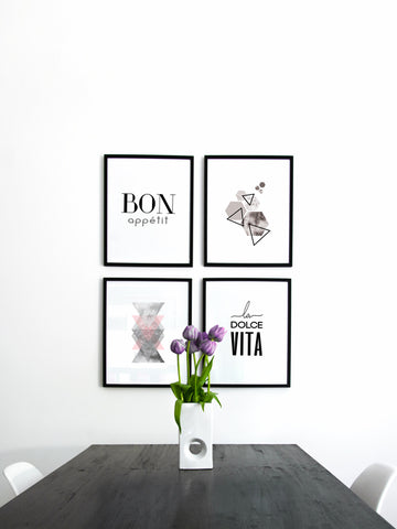 Bon Appétit kitchen typography black and white print
