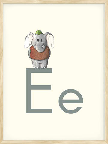 E-is-for-Elephant-alphabet-kids-poster-beige-color