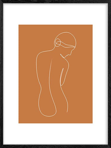 Femininity-in-Burn-Orange-Abstract-Girl-Poster-Posterwol