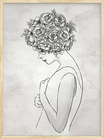 Floral-Afro-girl-peonies-minimalist-poster