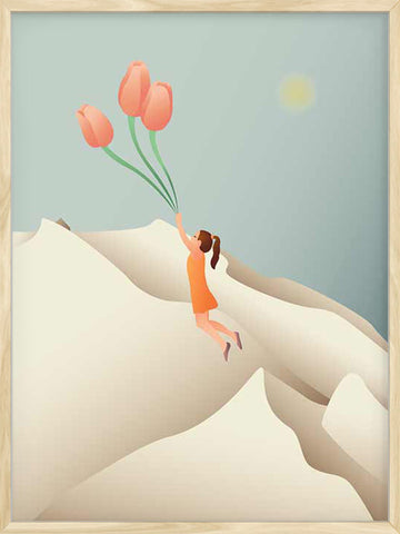 Flying-with-Tulips-surreal-kid-poster