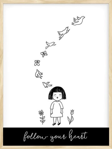 Follow-your-Heart---Little-girl-with-Birds-drawing-Art-Print---Posterwol