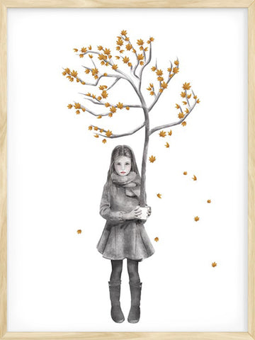 Four-Seasons-Fall-Girl-with-Tree-kids-poster