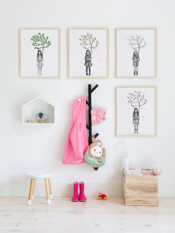 Four-Seasons-Spring-Girl-kids-print-affiche