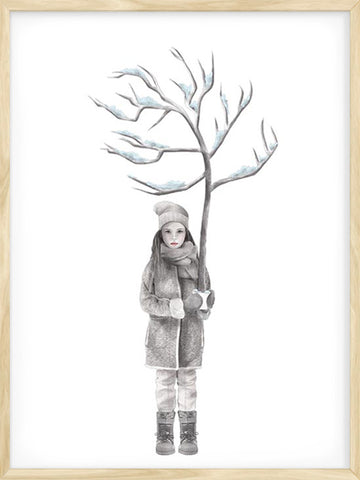 Four-Seasons-Winter-Girl-kids-scandinavian-poster