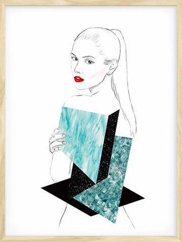 Geometric-Textures-Girl-Print-wooden-frame