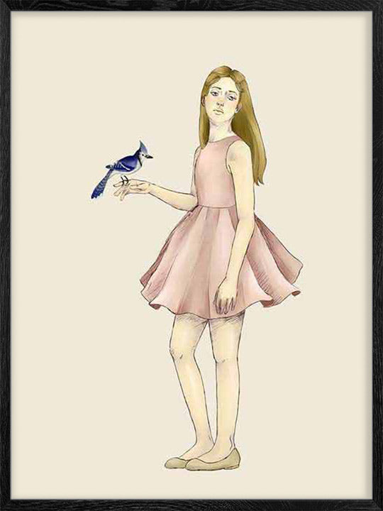 Girl with Bird- Poster