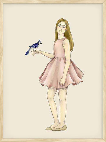 Girl-with-Bird-Kids-scandinavian-poster