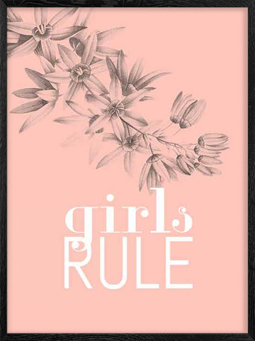 Girls-Rule-Scandinavian-style-Poster-with-Frame