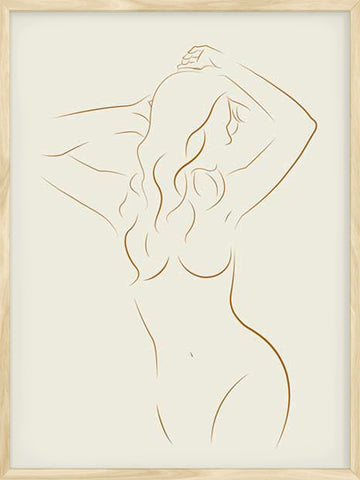 Line-Art-Girl-Cream-scandinavian-print Posterwol