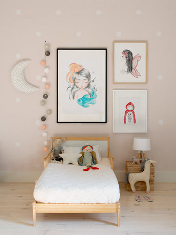 Pisces-zodiac-little-girl-Scandinavian-art-poster-children-decor