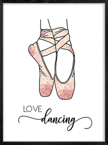 Love-dancing-illustration-of ballerina-feet-poster