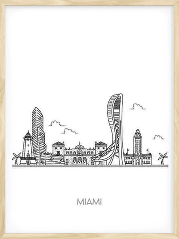 Miami-city-black-and-white-skyline-poster