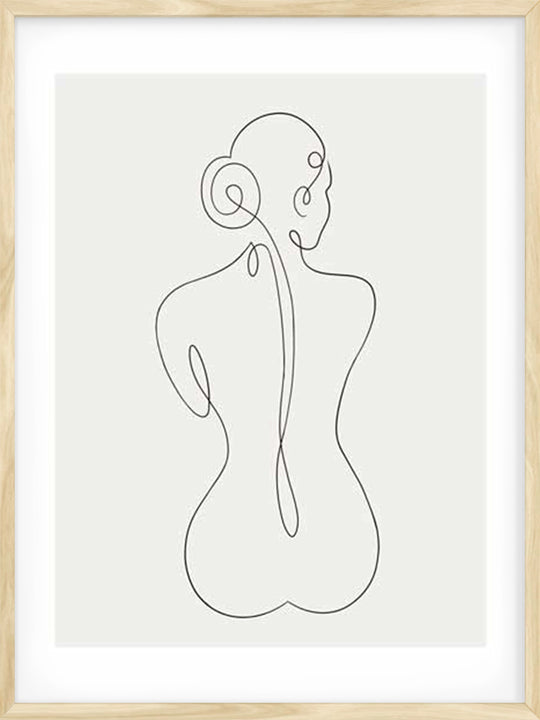 Nude One Line Female Drawing - Poster