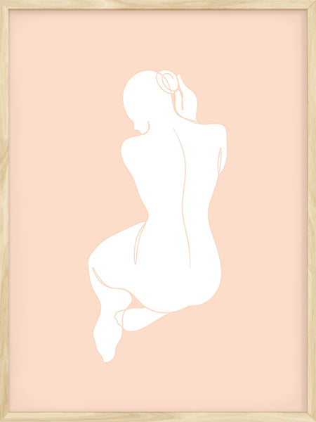 Girl with Bun in Pink - Poster