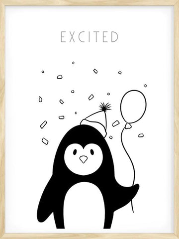 Excited---Penguin-Nordic-Design-Art-Print-by-Posterwol