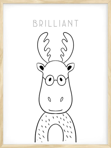 Art-Poster-of-simple-moose-drawing-with-text-Brilliant-by-Posterwol