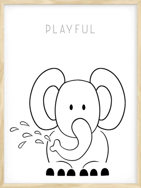 Playful Elephant - Poster