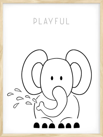 Art-Poster-of-Playful-Elephant-Drawing-with-Text-by-Posterwol