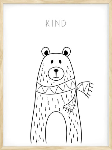 Kind-Bear-Drawing-with-text-Art-Poster-by-Posterwol