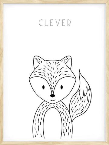 Clever-Fox-Simple-Drawing-with-Scandinavian-Design-Art-Poster-by-Posterwol