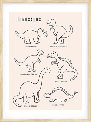 Dinosaurs---Peach-Background-Children-Modern-Art-Print-by-Posterwol