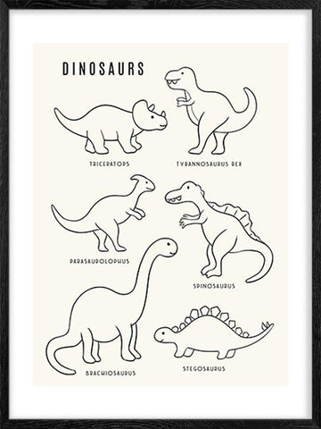 Cute-Dinosaurs---Cream-Art-Print-for-Little-ones-by-Posterwol