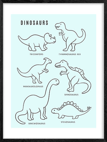 Dinosaurs---Blue-Background-Art-Poster-with-Scandinavian-Style-for-Kids'-rooms-by-Posterwol